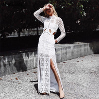 SP Style Luxury Brand 2017 Fashion Autumn Long White Dress Embroidery Lace Women Dresses For Ladies