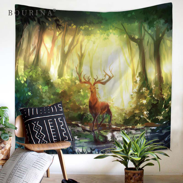 Bourina Modern Tapestry Wall Hanging Home Decor Animal Carpet Decoration Yoga Mat Beach Towel Tablecloth Forest