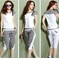 2015 ropa deportiva casual mujer trajes del verano más el tamaño chándales camiseta camiseta top + pantalones cortos pantalones blancos, rosa, gris, verde M ~ 3XXXL
