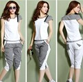 2015 sportswear casual woman overalls summer plus size tracksuits Tshirt top+short trousers pants white,pink,grey,green M~3XXXL