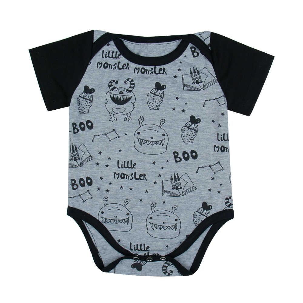 Детские Боди короткий рукав черный и серый мультфильм Письмо печати боди комбинезоны наряды Младенцы и Одежда для малышей Детские