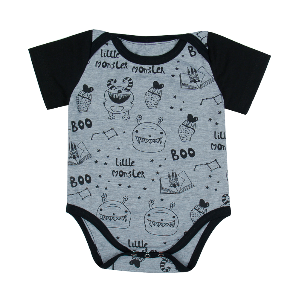 Baby Onesie Short Sleeve Black And Gray Cartoon Letter Print Bodysuits Jumpsuit Clothes Outfits Infants And Toddler Clothing Kid