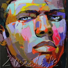 Palette knife painting portrait Palette knife Face Oil painting Impasto figure on canvas Hand painted Francoise Nielly 09