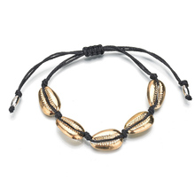 цена на Ladies Fashion Metal Alloy Bangles Cuff Shell Bracelet Full Weaved Handmade Beads Bracelet Jewelry Accessories Female Rope Chain