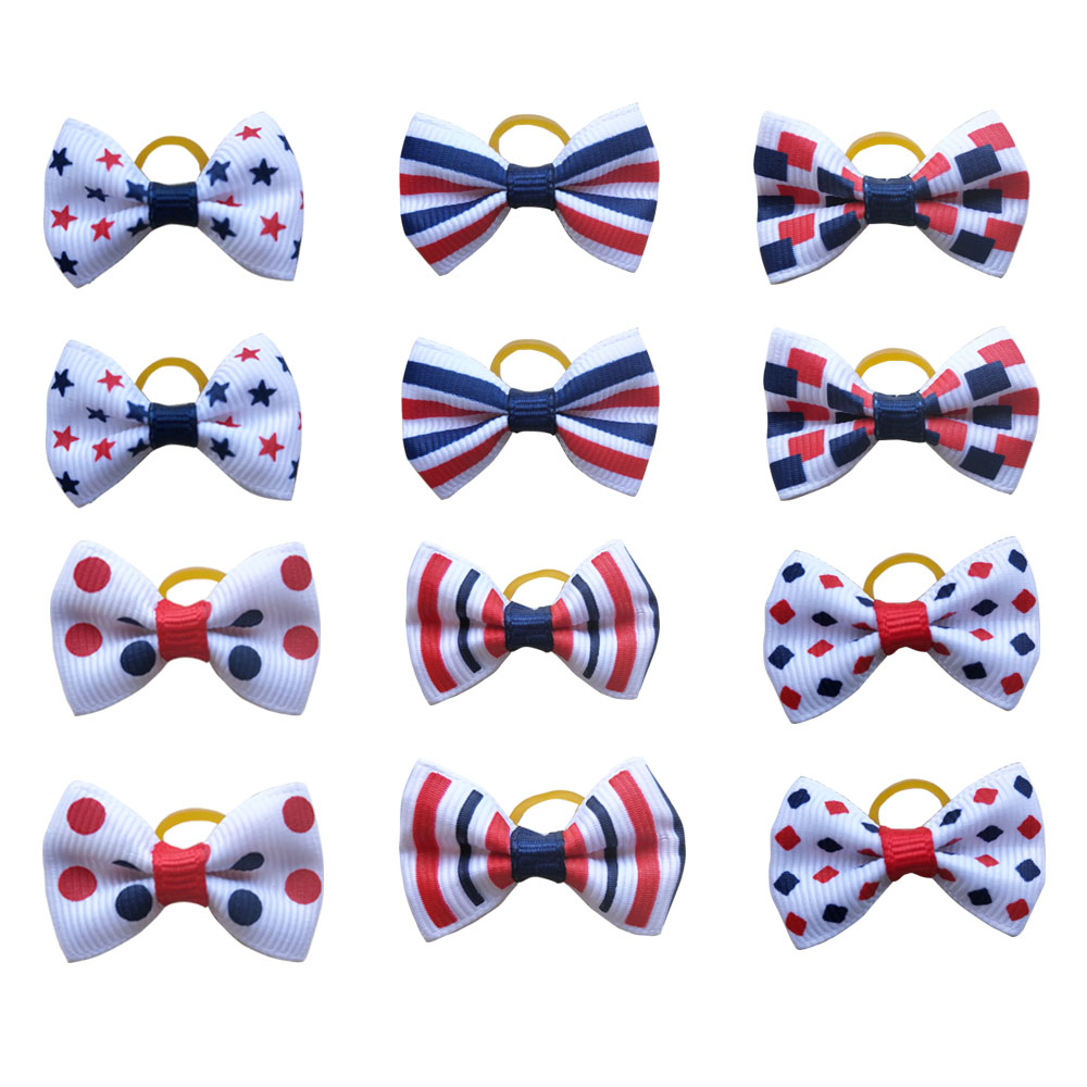 100pcs Dog Bows Red White Blue Pet Dog Hair Accessories Hand made Independence Day Pet Dog Bow Rubber Bands Pet ShopDog Accessories   -