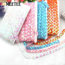 15Yards Width 15mm Wave Sequin Beading Lace Ribbon Trim for Stage Performances Clothes Curtain Accessory DIY Lace Sequin Fabric wave lace trim gingham bardot top