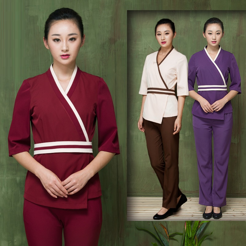 (10 Sets/lot)Spa Beauty Clothes Work Wear Half Sleeve Pants Set Workwear Hot Spring Resort Uniforms Khan Steam Service Wholesale