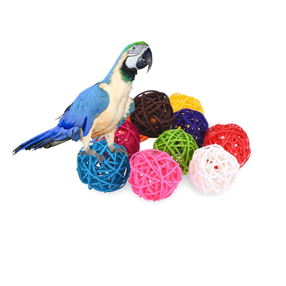 Us 1 8 38 Off 10 Pcs Bag Diy Bird Rattan Balloons Toy Colorful Circular Pet Parrot Toy Random Color In Bird Toys From Home Garden On Aliexpress