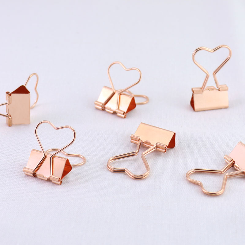 12pcs/box Heart Paper Clip Rose Gold Metal Binder Clips Notes Letter Paper Clip Clamp Supplies цена и фото