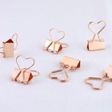 Купить онлайн 12 шт./кор. сердце Бумага Клип Розовое золото металлические зажимы Примечания письмо Бумага Зажим Поставки