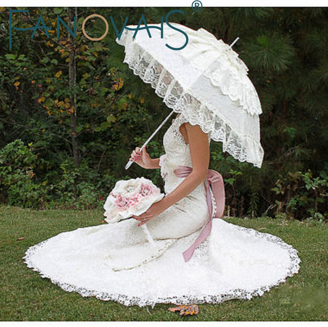 Ivory White Bridal Umbrella Lace Edge Sun Parasol Wedding Handmade Manual Long Handle