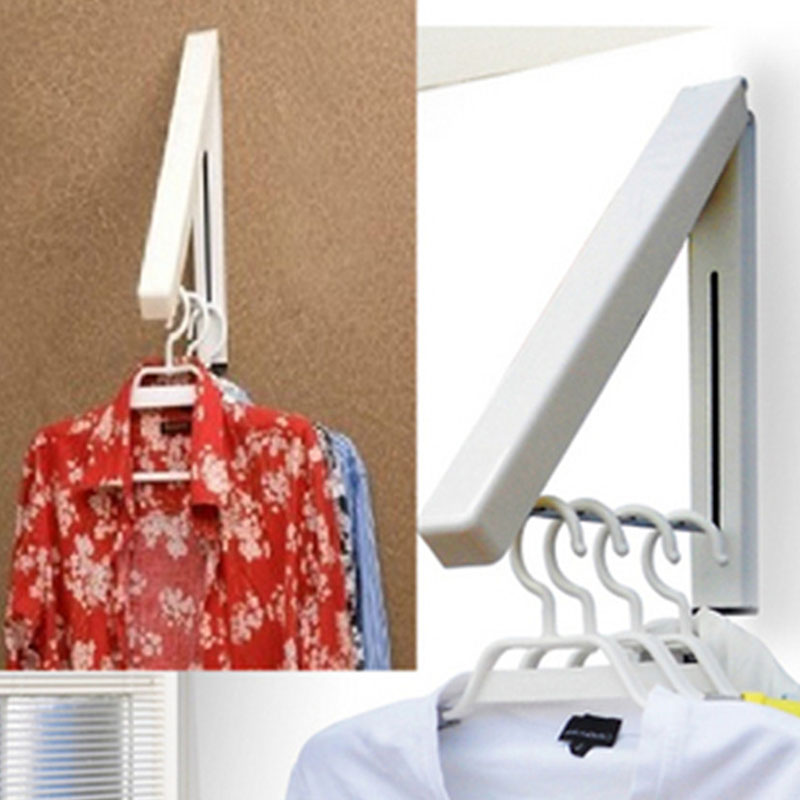 1pcs Stainless Steel Folding Hangers Wall Hanger Retractable Indoor Clothes  Drying Rack Magic Adjustable Household Towel