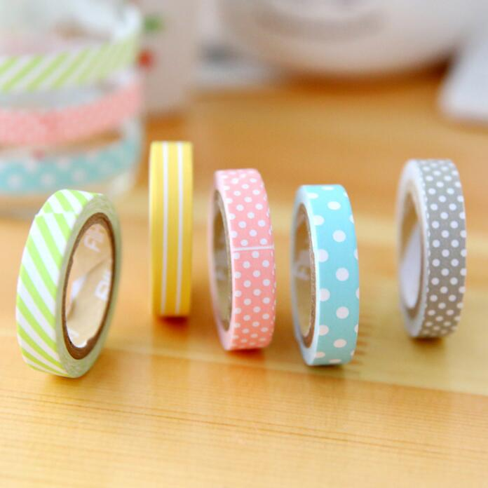 5 Pcs/pack Candy Color Rainbow Washi Tape Adhesive Tape DIY Scrapbooking Sticker Label Masking Tape