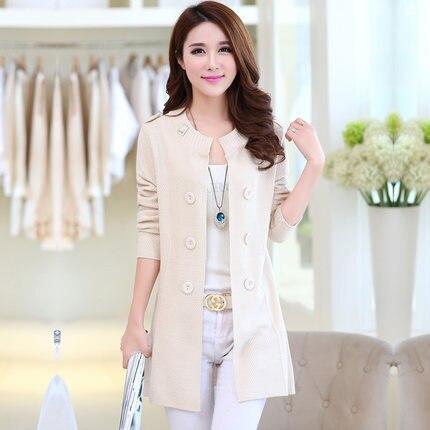 2016 весной новый Мисс Хан Пан свитер пальто с длинными рукавами кардиган тонкий свитер длинный участок больших размеров женщин пальто