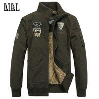 ขนาดบวกอบอุ่นแจ็คเก็ตผ้าฝ้ายหนาขนสัตว์ผู้ชายฤดูหนาวAir F Orce Oneทหารผู้ชาย