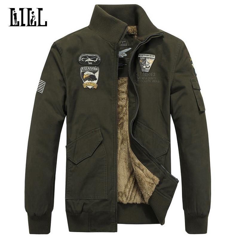 Más el tamaño cálido cálido de algodón chaqueta de lana de los hombres de invierno Air Force One abrigo militar de los hombres de la capa del ejército masculino Sportwear Sport, UMA158