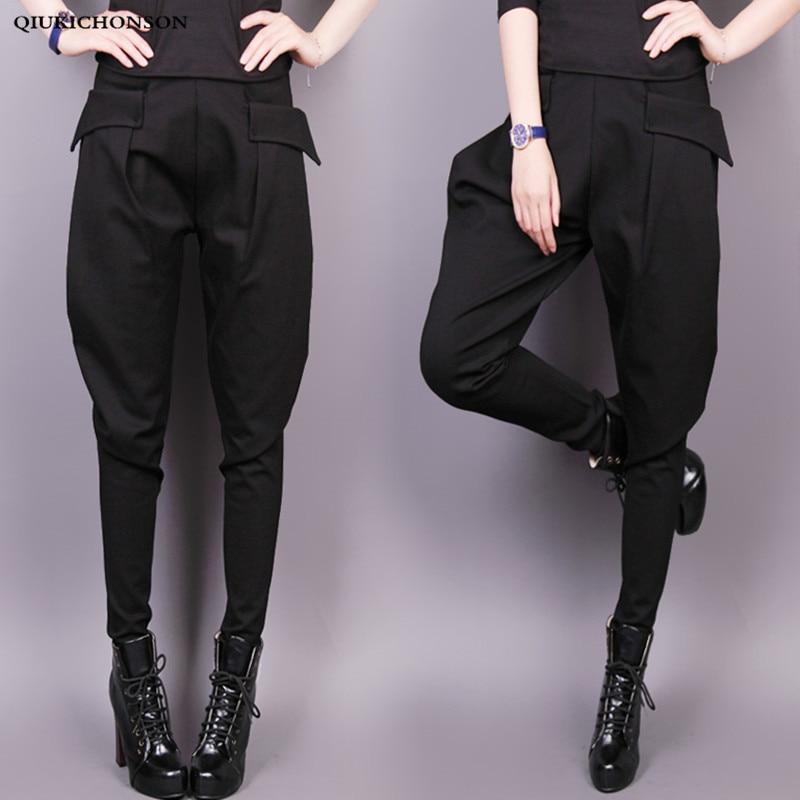 England Style Harem Pants Women Spring Autumn High Waisted Black Pants Trousers Ladies Elegant Skinny Pants Plus Size Breeches