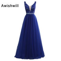 Sexy V Neck Long Prom Dresses 2018 New Tulle Beadings Sleeveless Open Back Royal Blue Fashion