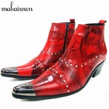 Красивый Красный Натуральная Кожа Мужчины Ботильоны Металл Острым Носом Мужские Свадебные Туфли Высокие Верхние Botas Хомбре Ковбойские Сапоги