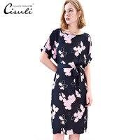 CISULI 100% шелковое платье для женщин Летнее шелковое платья из крепа плюс размеры короткий рукав