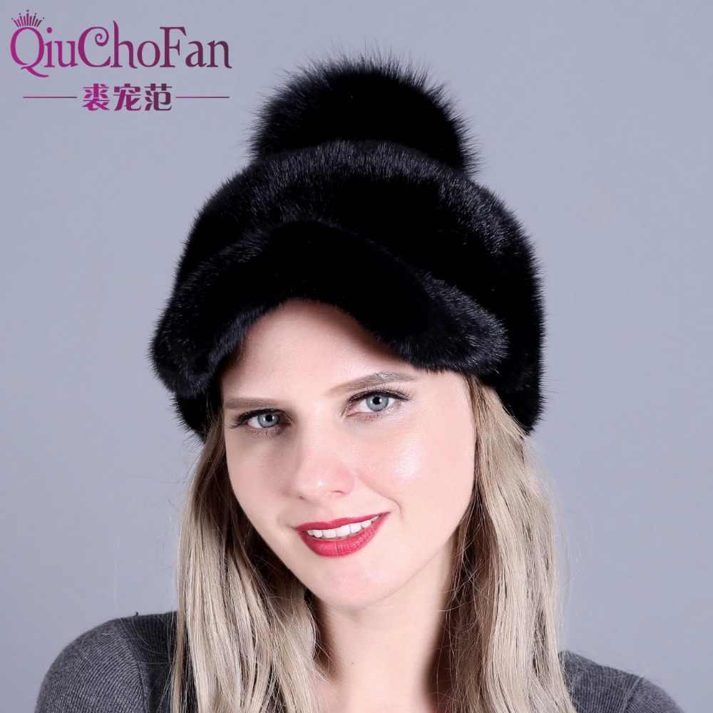 Female fur hats Mink Fur Cap Knitted Hats For Winter Women Beanies 2017 fashion  Russian hat 9f879f93c03