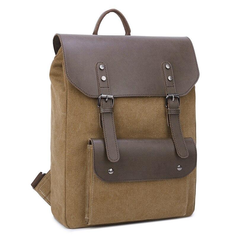 New canvas with leather shoulder bag selling solid color canvas bag vertical square shoulder portable multifunctional retro comp