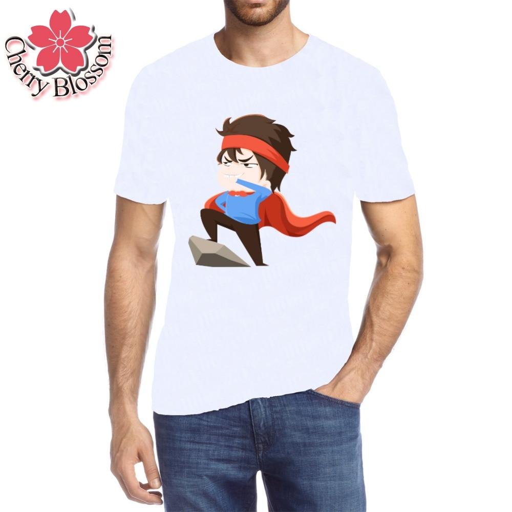 Cherry Blossom Men T Shirt Tops Tee Short Sleeve Supermen Boys Cheap Cartoon Printed T-Shirt Summer Style Men White Clothing