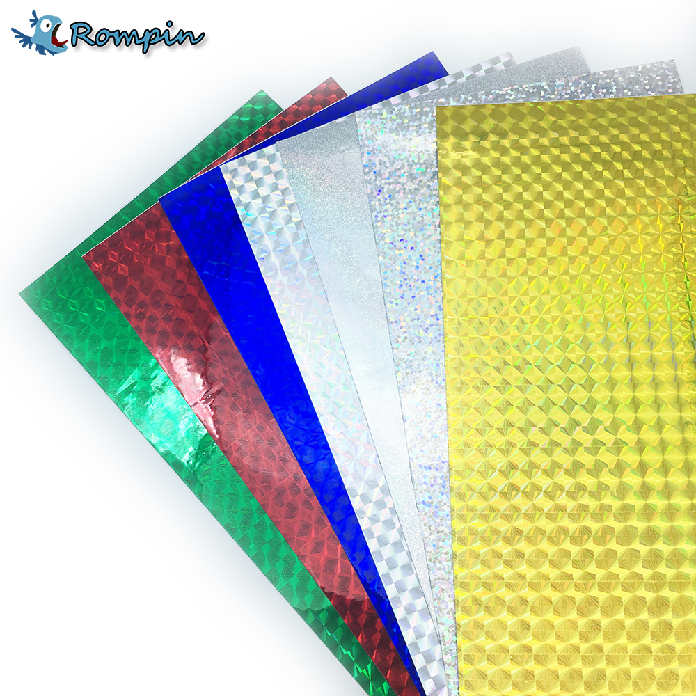 Rompin 7pcs/lot 10*20cm Fly Tying Laser Rainbow Film Holographic Adhesive Film Flash Tape For Lure Making Fly Tying Materials 10 pieces 10 x 5 5 cm fly tying rainbow film sabiki rig shrimp back wings scud nymph tying clear flash film fly tying materials