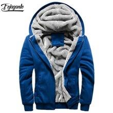Fojaganto 남자 따뜻한 카디건 후드 탑스 가을 겨울 남성 캐주얼 thicken 솔리드 컬러 의류 남성 후드 티 셔츠