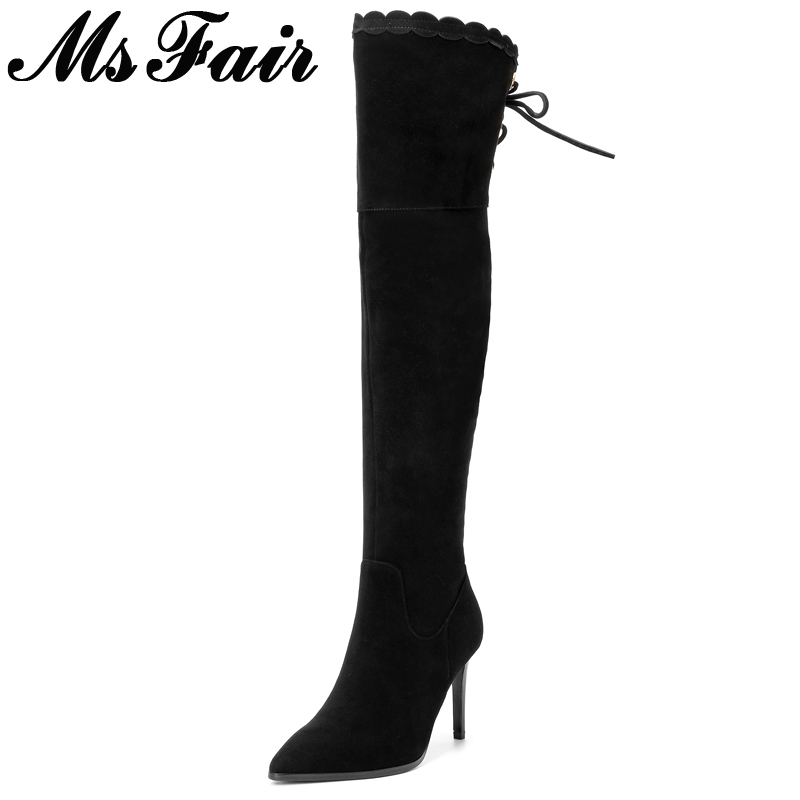 MsFair Pointed Toe Thin Heels Women Boots  High Heel Over The Knee Ladies Boots 2017 New Winter Short Plush Women Boots Shoes hot selling 2015 women denim boots pointed toe tassel patchwork knee high boots crystal thin high heels winter motorcycle boots