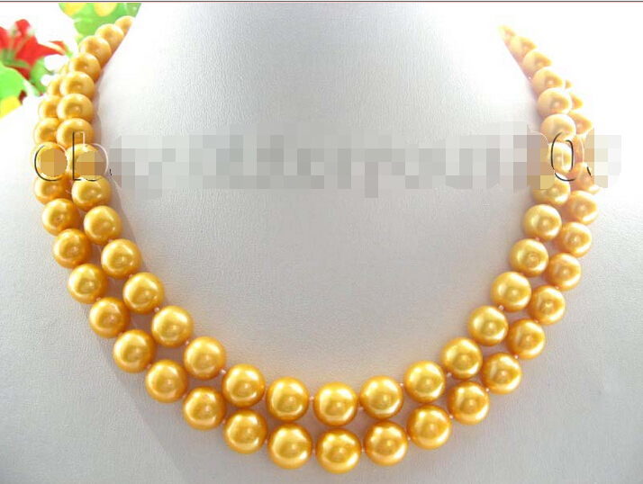 Double Natural 10mm Golden Round Pearl Necklace 14KGP! (A0501)Double Natural 10mm Golden Round Pearl Necklace 14KGP! (A0501)