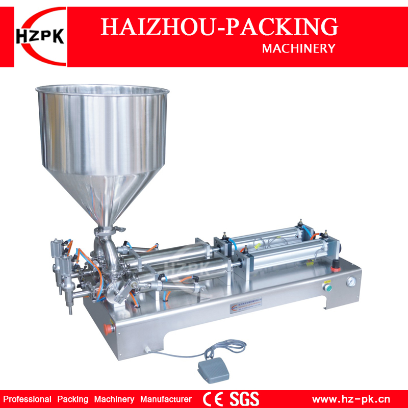HZPK Semi-automatic Stainless steel Double Heads Liquid Shampoo Filler Paste Filling Machine With Rotary Valve Range 10-100ml