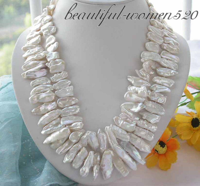 Z3486 2ROW 35MM white DENS BIWA CULTURED PEARL NECKLACE