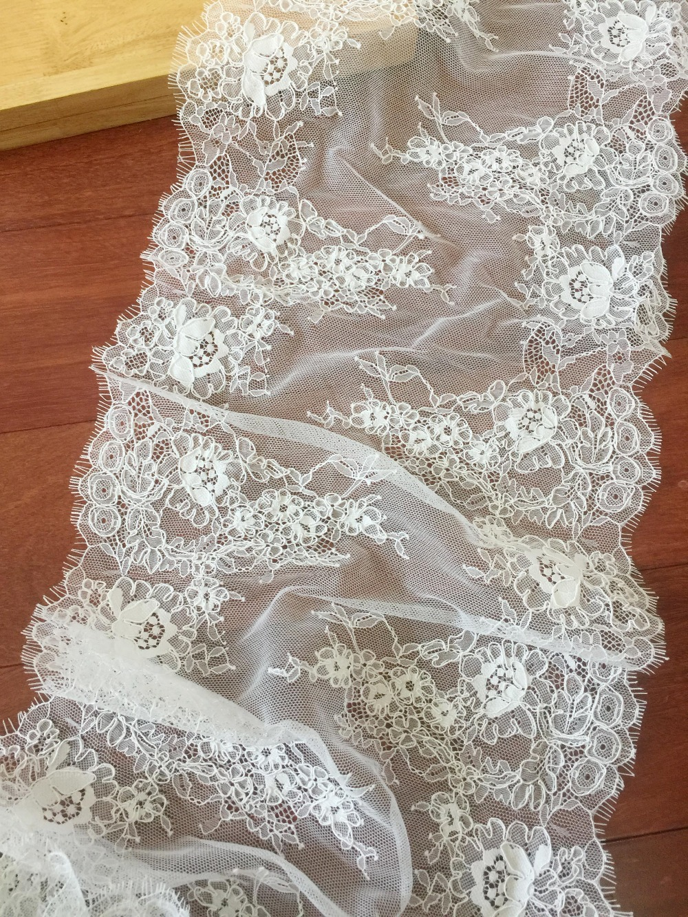 Exquisite French Alencon Lace Fabric in Ivory for Wedding, Gowns, Bridal Veils, Costumes Design image