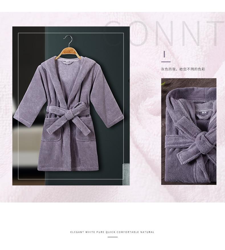 Peignoir bébé pur coton doux respirant absorption d'eau confortable à capuche doux Terry absorbant nuit robe de chambre pijamas - 2