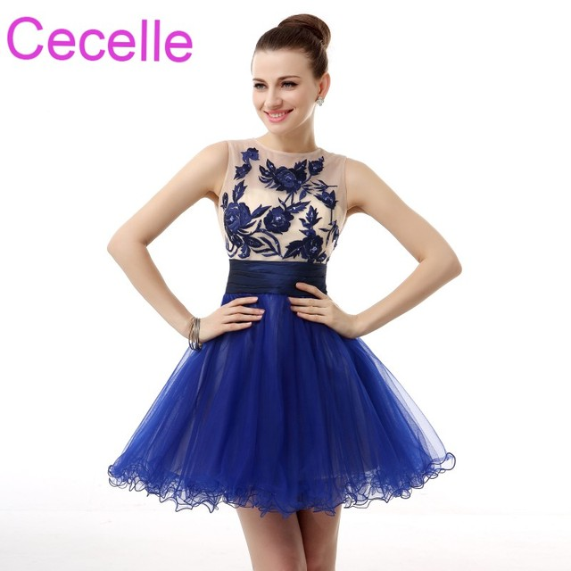 Royal Blue Cute Short Cocktail Dresses 2018 Sleevelss Lace Tulle