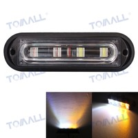 Tomall Waterproof 12W Truck Marker Lamps Police Lights White Yellow 4LED Auto Car 18 Flash Patterns