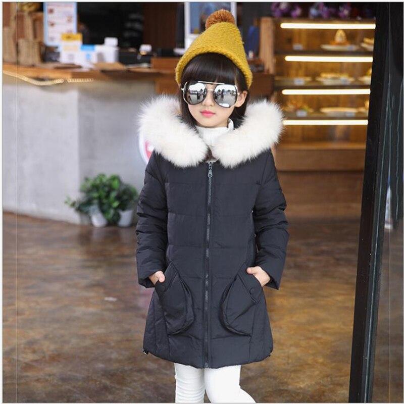 2016 Новый пуховик для девочек, куртка для девочек большой меховой воротник с капюшоном, Длинная Верхняя одежда для детей, парки Пальто Обувь