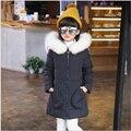 2016 новых девушек пуховик для девочки пальто большой меховой воротник капюшоном длинные дети верхняя одежда куртка пальто пальто Девушки Snowsuit