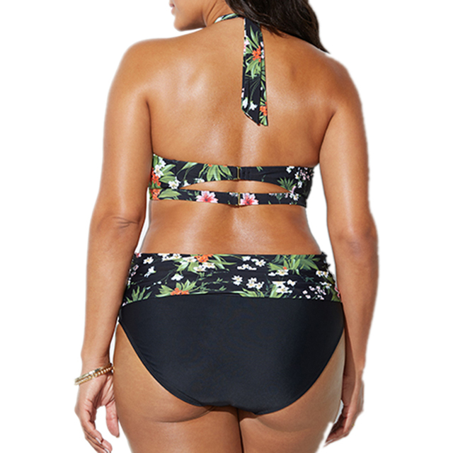 Large size bathing suit women swimwear bikini 2018 Push Up  high waist floral print Swimsuit Beach bikini plus size swimwear 4XL 1