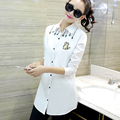 Autumn long paragraph in the new long-sleeved POLO collar embroidery Slim women's shirts
