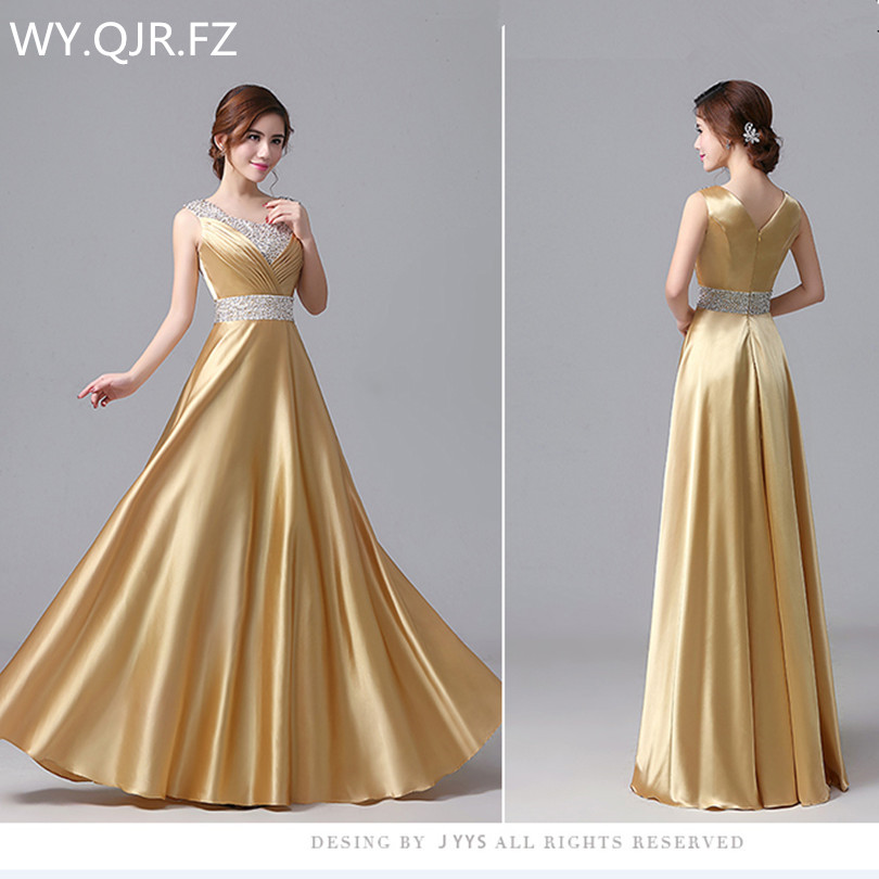 JYHS6420J#New spring summer 2019   Evening     Dresses   Resin drill yellow bride wedding party toast   dress   long cheap wholesale women