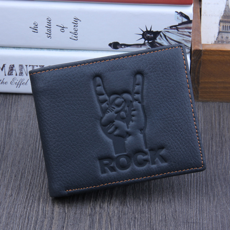 Rock men wallets genuine leather wallet design men wallets with coin pocket purse 2016 new gift cards clip black simple style new automatic door closer mayitr household adjustable stainless steel hotel office surface mounted closing device for hardware