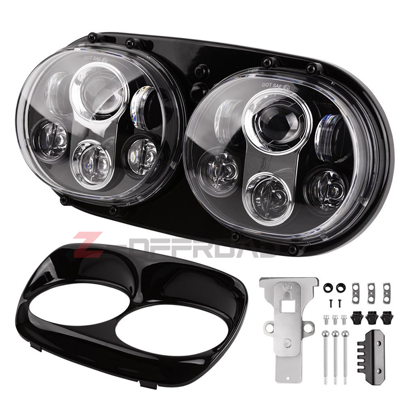 "For Motorcycle Road Glide Ultra FLTRU CVO Custom Anniversary FLTRXSE2 motorcycle headlights 5.75"" LED H4 dual headlight motorcycle headlight - title="