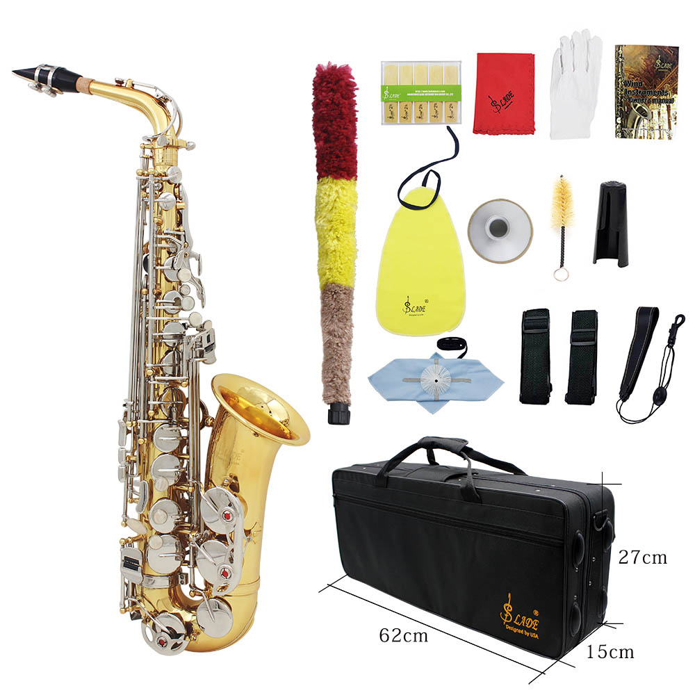 LADE Alto Saxophone Sax Glossy Brass Engraved Eb E Flat Natural White Shell Button Wind Instrument