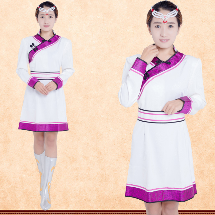 New Arrival Lady Mongolia Robe Short Dress Mongolia Women's Clothing Mongolia Hotel Restaurant Work Uniform