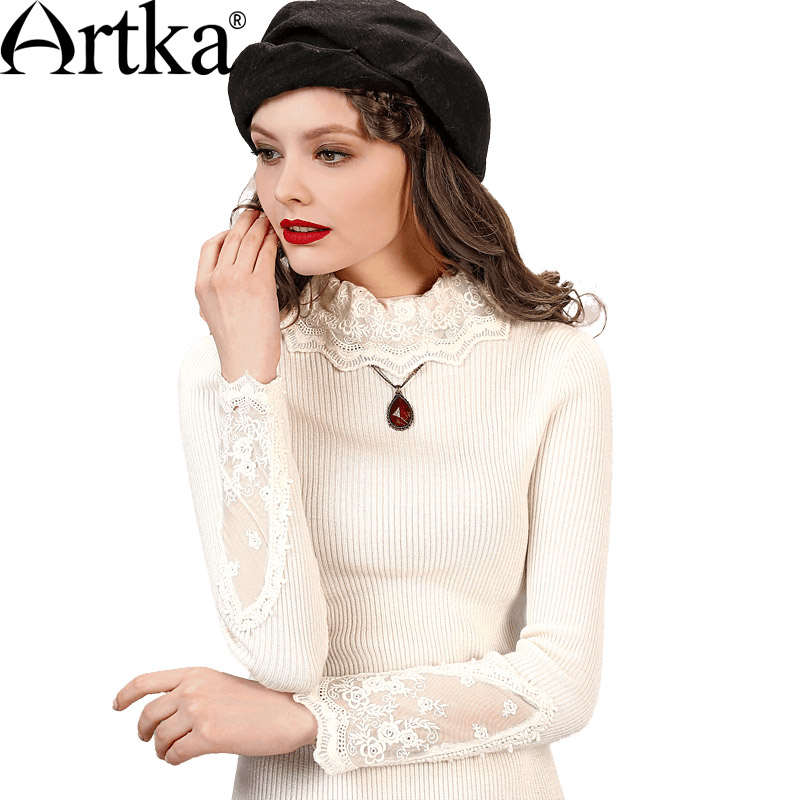 ARTKA Women s Winter Sexy New Pullover Wool Sweater Lace Tutleneck Collar Casual Warm Knitwear in