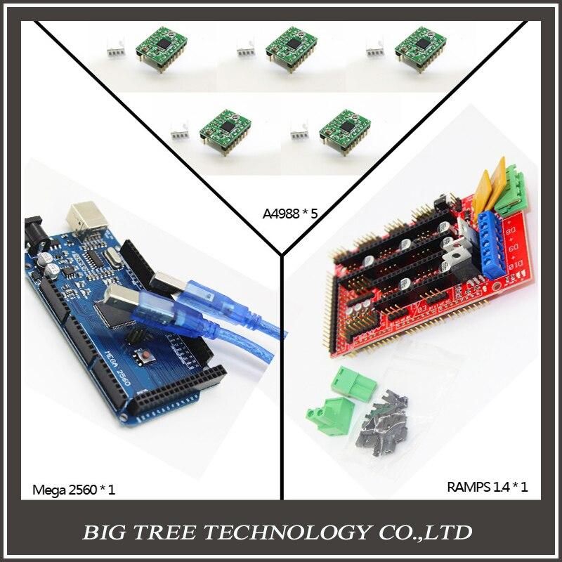 BIQU Free shipping Mega 2560 R3 + 1pcs RAMPS 1.4 Controller + 5pcs A4988 Stepper Driver Module + USB cable for 3D Printer diy k 3d printer driver controller rumba  usb cable