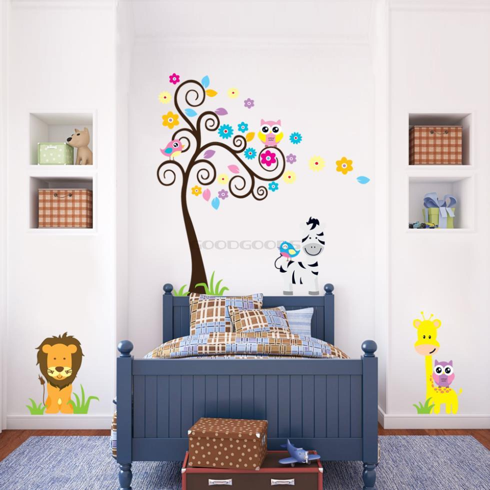 New 2015 diy owl tree zebra lion zoo western wall sticker mural aeproducttsubject amipublicfo Images