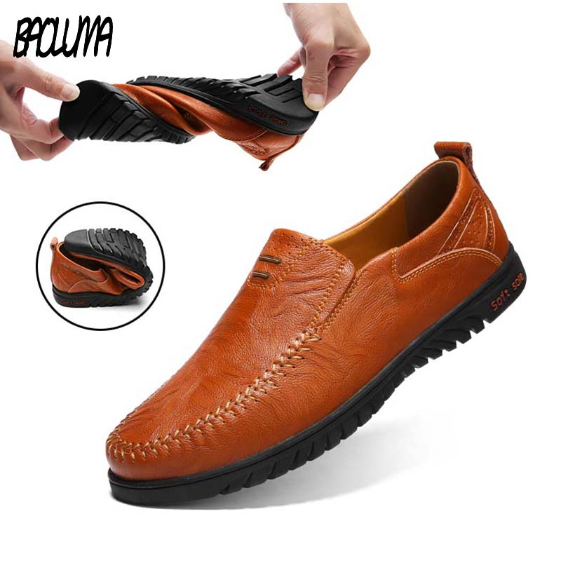 Summer Men Casual Shoes Genuine   Leather   Breather Soft Brand Men Driver Loafers Moccasins Designer Shoes Comfortable Sneakers